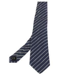 ربطة عنق توم فورد قطن حرير جاكارد مخطط أزرق