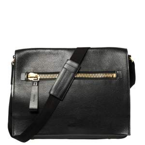 Tom Ford Black Grained Leather Buckley Flap Messenger Bag