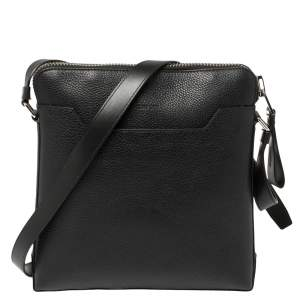 Tom Ford Black Grain Leather Messenger Bag