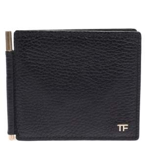 Tom Ford Black Leather Money Clip Bifold Wallet