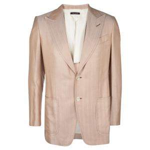 Tom Ford Orange Herringbone Pattern Silk Blazer L