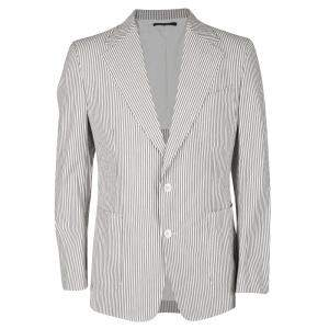 Tom Ford Brown and White Striped Cotton Basic Base Blazer XL