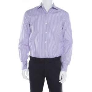 Tom Ford Purple and White Striped Cotton Long Sleeve Button Front Shirt L
