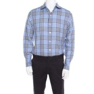 Tom Ford Blue Checked Cotton Long Sleeve Button Front Shirt XL