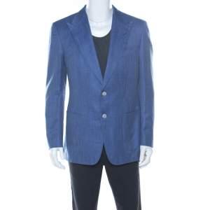 Tom Ford Blue Wool & Silk Blend Classic Fit Blazer L