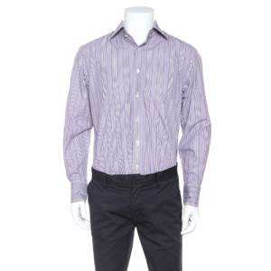 Tom Ford Purple Striped Cotton Button Front Long Sleeve Shirt L