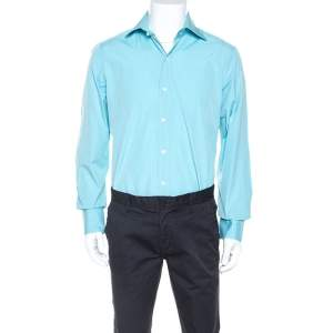 Tom Ford Turquoise Blue Pinpoint Cotton Classic Fit Shirt L
