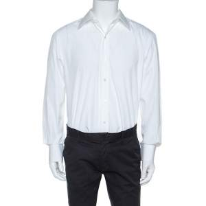 Tom Ford White Cotton Button Front Long Sleeve Shirt XL