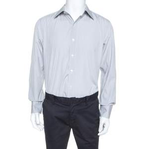 Tom Ford White & Grey Striped Cotton Button Front Shirt XXL