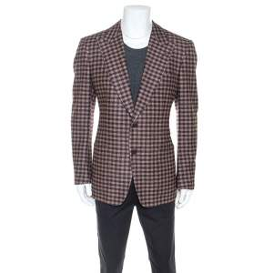 Tom Ford Brown Checked Wool Twill Blazer XL