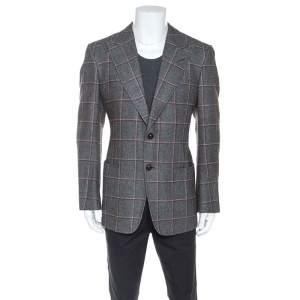 Tom Ford Grey Checked Wool Silk Blend Blazer XL