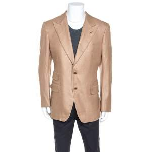Tom Ford Beige Silk Cashmere Blend Blazer XL
