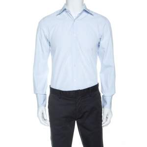 Tom Ford Light Blue Cotton Front Button Shirt M