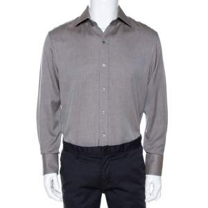 Tom Ford Brown Herringbone Cotton Long Sleeve Shirt XL