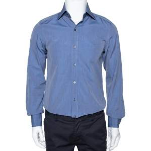 Tom Ford Dark Blue Chambray Cotton Long Sleeve Shirt M