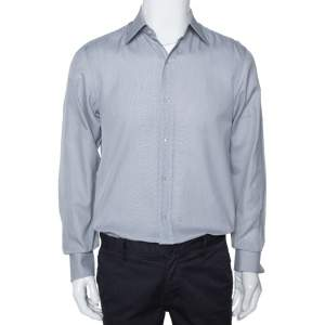 Tom Ford Grey Textured Cotton Button Front Long Sleeve Shirt M