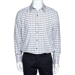 Tom Ford Black & White Checked Cotton Long Sleeve Shirt XL