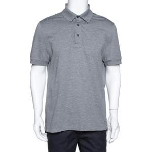 Tom Ford Grey Cotton Pique Short Sleeve Polo T-Shirt 3XL