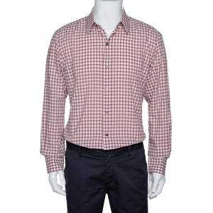Tom Ford Light Brown Gingham Check Cotton Long Sleeve Shirt XXL