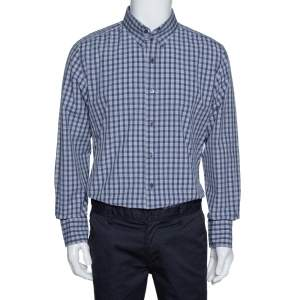 Tom Ford Dark Blue Checked Cotton Long Sleeve Shirt XXXL