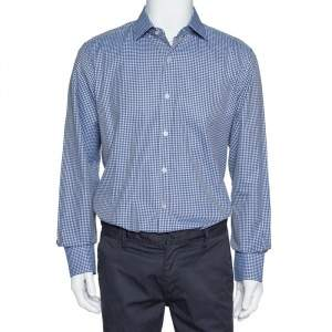 Tom Ford Navy Blue Gingham Check Cotton Long Sleeve Shirt XXL