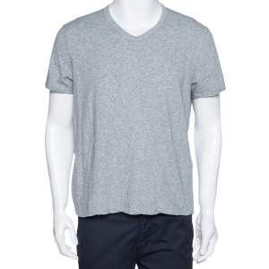 Tom Ford Grey Marl Jersey Cotton V Neck T-Shirt L