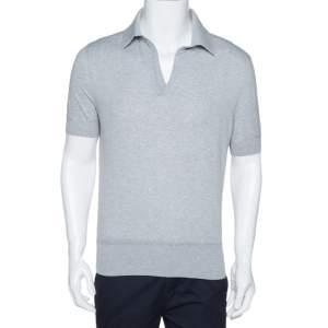 Tom Ford Grey Rib Knit Cotton V Neck Polo T-Shirt L