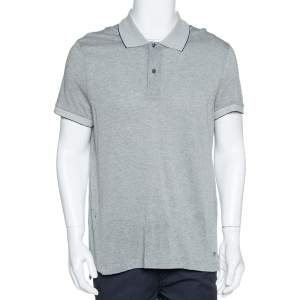 Tom Ford Grey Cotton Blend Pique Knit Polo T-Shirt L