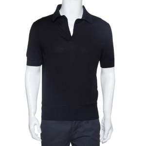 Tom Ford Black Rib Knit Cotton V Neck Polo T-Shirt L