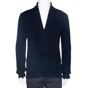 Tom Ford Navy Blue Rib Knit Shawl Collar Cardigan XL