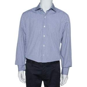 Tom Ford Navy Blue & White Striped Cotton Long Sleeve Shirt XXL