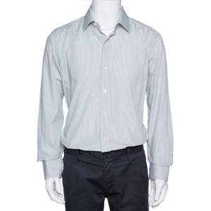 Tom Ford White & Black Pinstriped Cotton Long Sleeve Shirt XXL