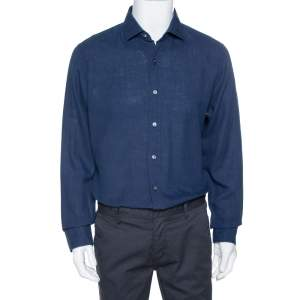 Tom Ford Navy Blue Linen & Cotton Long Sleeve Shirt XXL