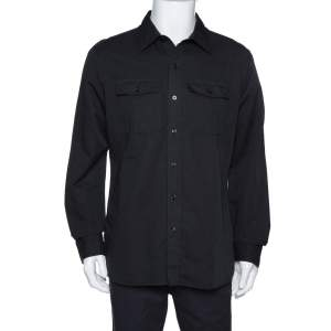 Tom Ford Black Washed Linen & Cotton Long Sleeve Shirt XXL