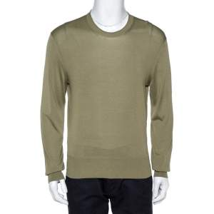 Tom Ford Olive Green Silk Knit Crew Neck Jumper XL
