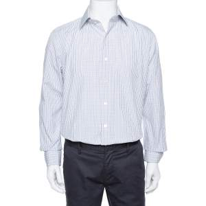 Tom Ford White Checked Cotton Su Misura Long Sleeve Shirt XL