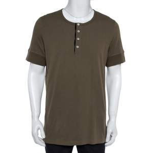 Tom Ford Olive Green Marl Jersey Short Sleeve Henley T-Shirt 3XL