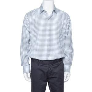 Tom Ford White & Blue Checkered Su Misura Long Sleeve Shirt XXL