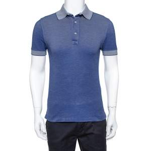 Tom Ford Navy Blue Pique Knit Polo T Shirt M