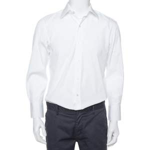 Tom Ford White Cotton Piquet Plastron Shirt L