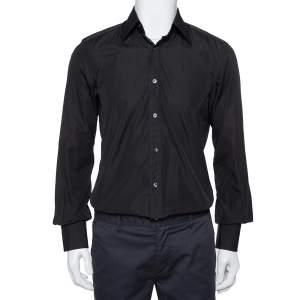 Tom Ford Black Cotton Long Sleeve Fitted Shirt M