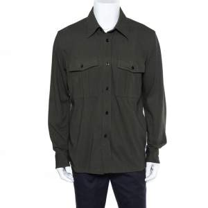 Tom Ford Dark Green Knit Button Front Shirt XL