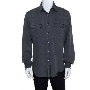 Tom Ford Grey Denim Button Front Long Sleeve Shirt XL