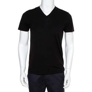 Tom Ford Black Cotton V-Neck T-Shirt S