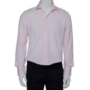 Tom Ford Pink Striped Cotton Button Front Shirt L
