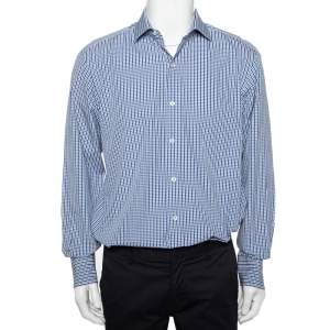 Tom Ford White & Navy Blue Patterned Cotton Button Front Shirt XL