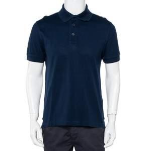 Tom Ford Navy Blue Cotton Knit Polo T-Shirt XL