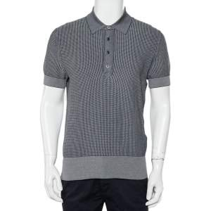 Tom Ford Navy Blue Patterned Knit Polo T-Shirt XL