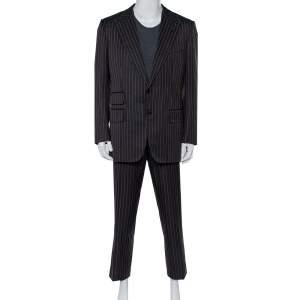 Tom Ford Black Striped Wool & Silk Suit XXL