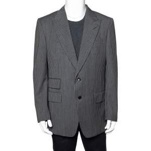 Tom Ford Grey Striped Wool Button Front Blazer XXL